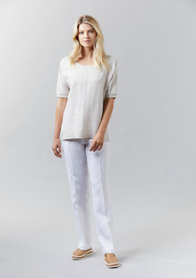 Washed Linen Top with Knit | Washed Linen Pant - V5203 Washed Linen TopV5202- other colours available