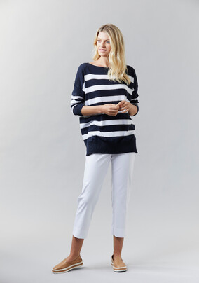 Striped Boat Neck Sweater  | Cotton Stretch Pant - V5208 Striped Boat Neck SweaterV5245 Cotton Stretch Pant- other colours available